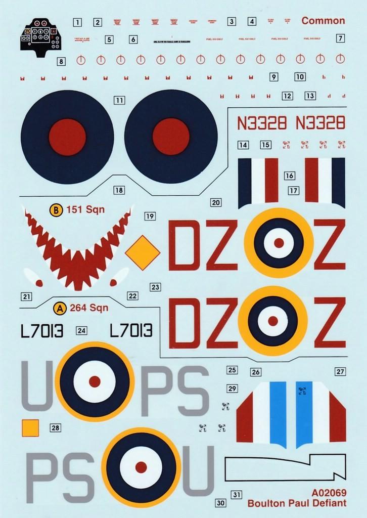 Airfix-Boulton-Paul-Defiant-Decals-726x1024 75 Jahre Luftschlacht um England - die Boulton-Paul Defiant (Airfix A 02069) im Maßstab 1:72