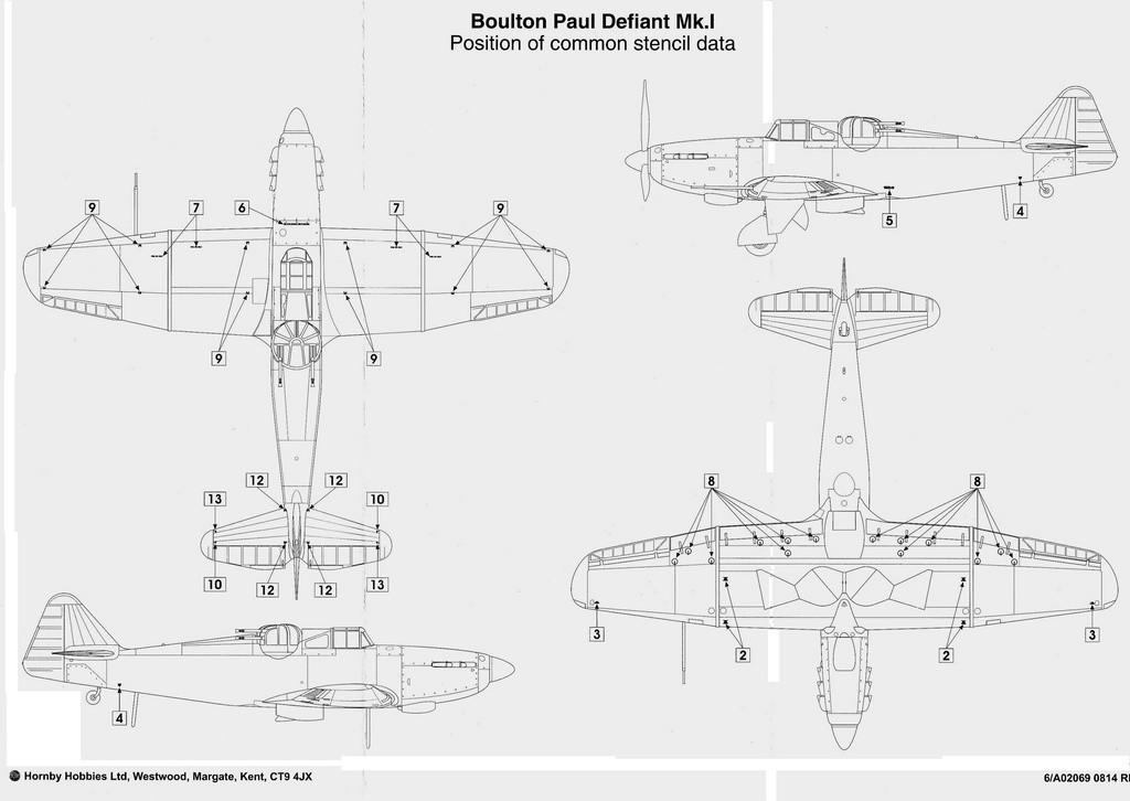 Airfix-Boulton-Paul-Defiant-Stencil-Data-1024x726 75 Jahre Luftschlacht um England - die Boulton-Paul Defiant (Airfix A 02069) im Maßstab 1:72