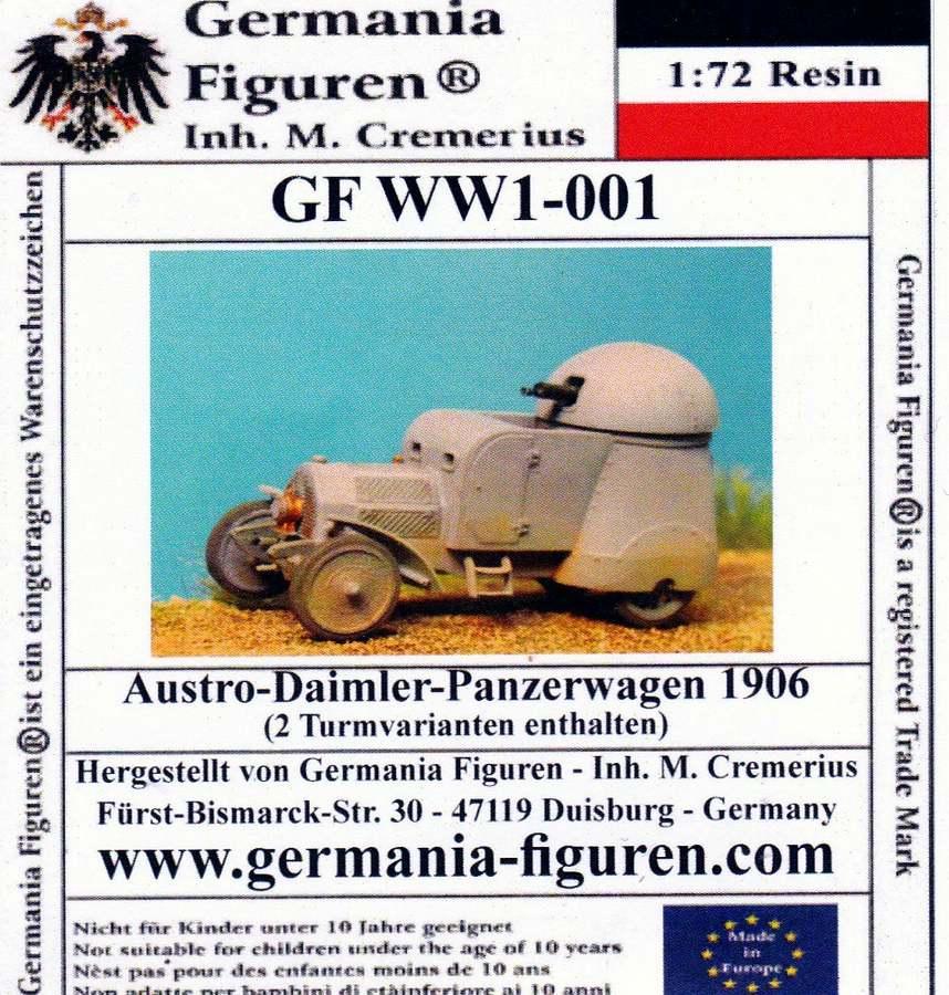 Germania-WW1-001-Austro-Daimler-Panzerwagen-Deckelbild Der Austro-Daimler Panzerwagen des österreichischen Heeres im Maßstab 1:72