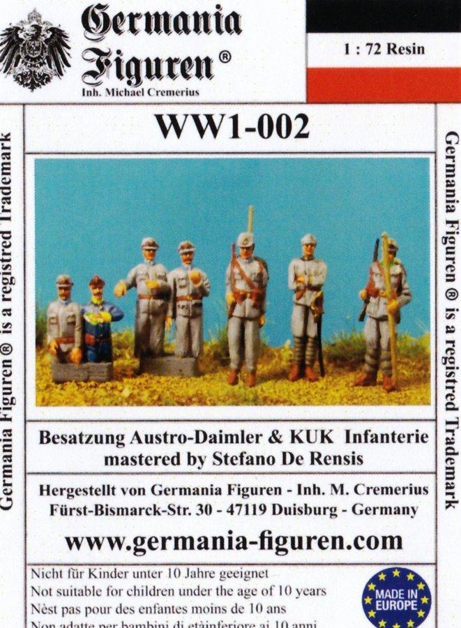 Germania-WW1-002-Besatzung-Austro-Daimler-Panzerwagen-und-KuK-Infanterie Der Austro-Daimler Panzerwagen des österreichischen Heeres im Maßstab 1:72