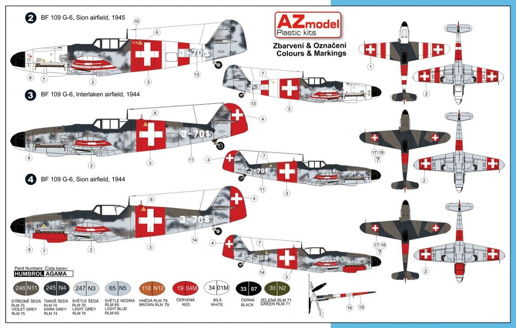 AZ-Model-7490-Bf-109-in-Swiss-Service-Markierungen Bf 109 G Swiss Air Force von AZ Model