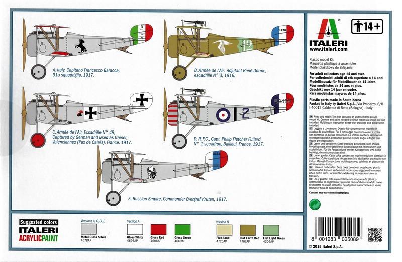 """Italeri-Nieuport-17-1zu32-Bemalungsübersicht Die """"neue"""" Nieuport 17 von Italeri (1:32)"""