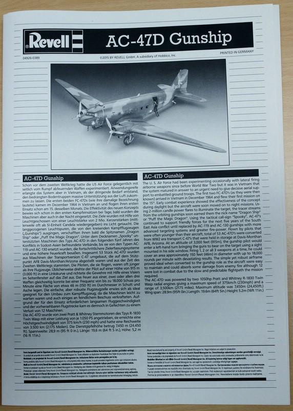 Revell-AC-47D-6 Douglas AC-47D Gunship von Revell im Maßstab 1:48