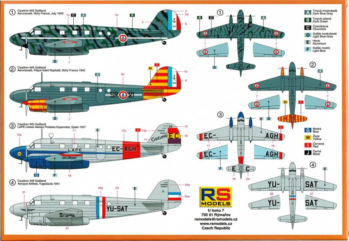 RS-Models-Caudron-Goeland-1 Caudron C-445 Goëland (Luftwaffe, Frankreich, Slovakei, Spanien) 1:72