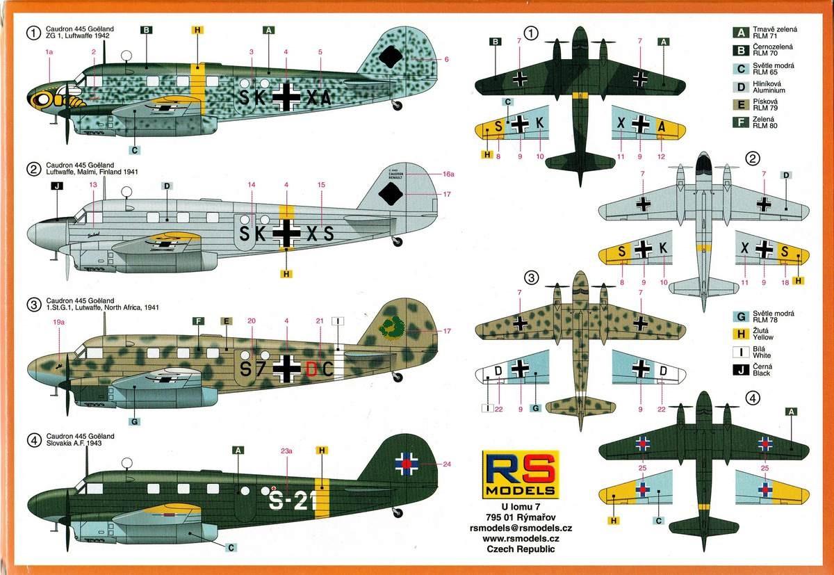 RS-Models-Caudron-Goeland-3 Caudron C-445 Goëland (Luftwaffe, Frankreich, Slovakei, Spanien) 1:72