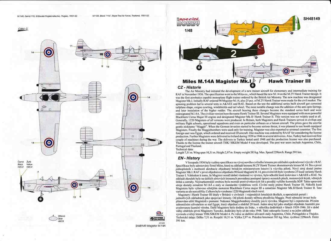 SH-Miles-Magister-Türkei-Ägypten-12 Miles Magister von Special Hobby im Maßstab 1:48