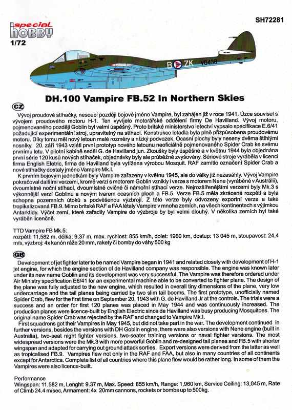 "SpecialHobby-Vampire-in-Northern-Skies-4 de Havilland Vampire FB.52 ""In Northern Skies (1:72 Special Hobby)"