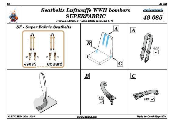 Eduard-49085-Seatbelts-Luftwaffe-SUPERFABRIC-3 Eduard 1:48 Seatbelts Luftwaffe Bombers SUPERFABRIC