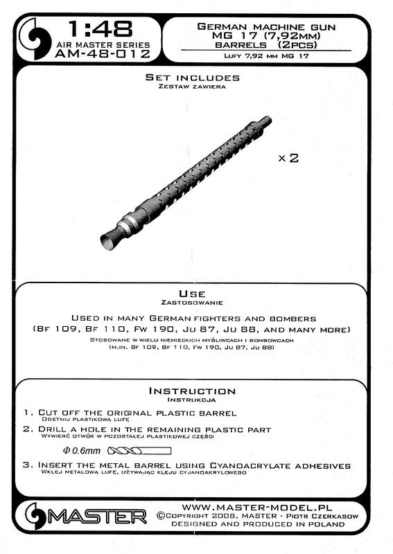 MASTER-AM-48012-MG-17-4 Flugzeug-Maschinengewehr MG 17 von Master im Maßstab 1:48