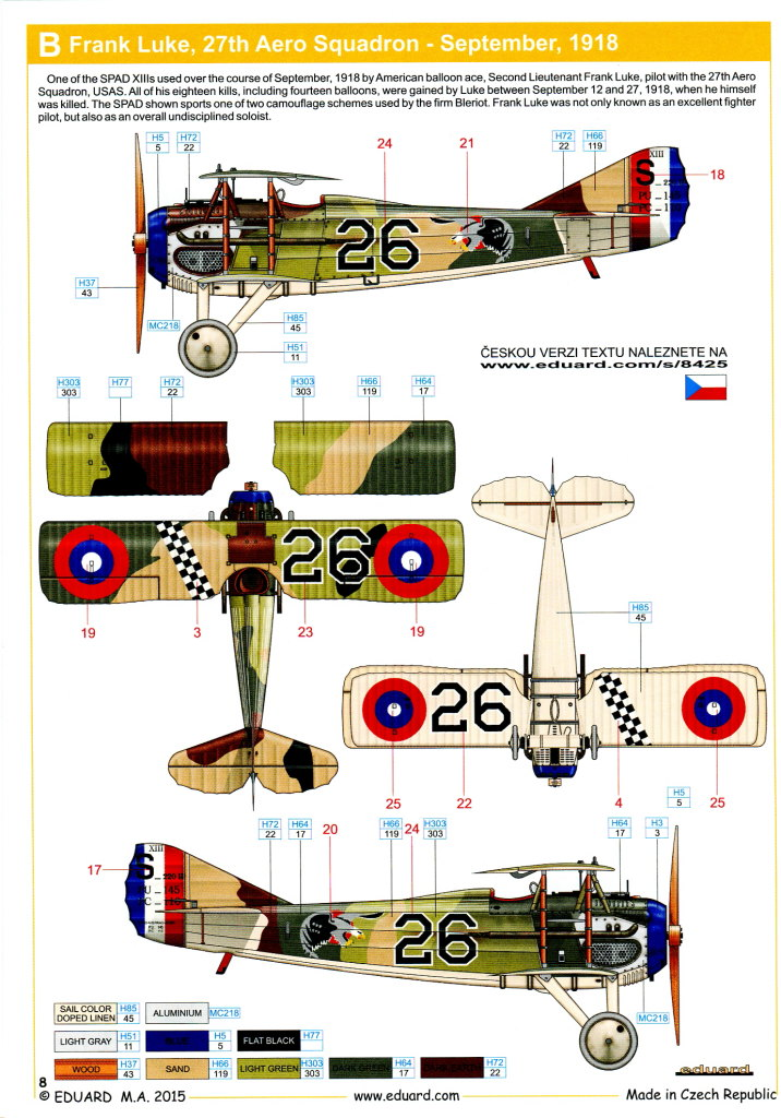 Spad_XIII_20 Spad XIII - Eduard 1/48 Weekend Edition - #8425
