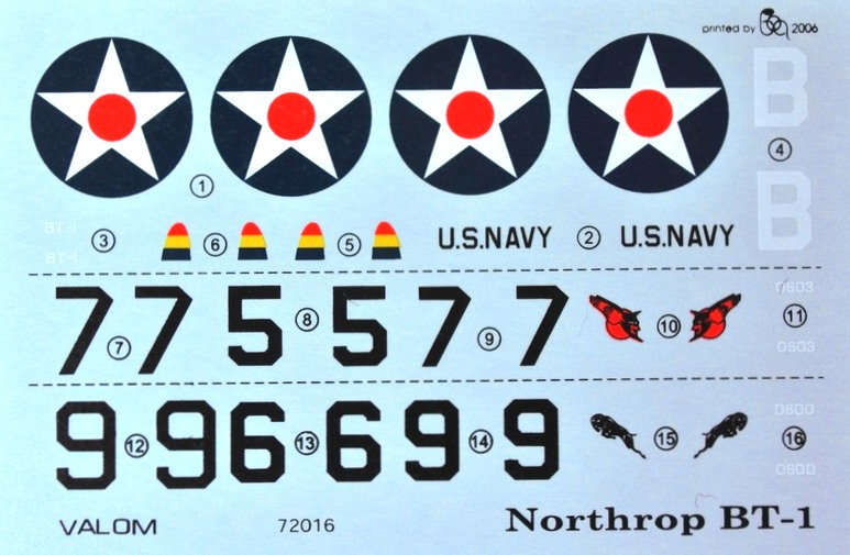 VALOM-72016-Northrop-BT-1-decals Northrop BT-1 (Valom 1:72)