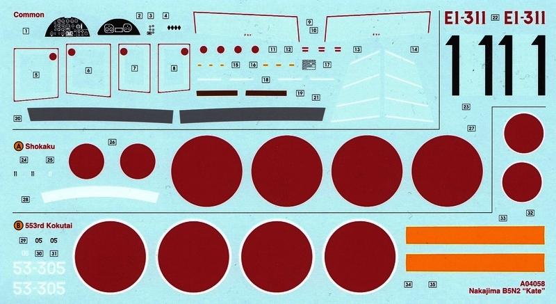 "Airfix-Nakajima-B5N-Kate-Decals Nakajima B5N2 ""Kate"" von Airfix (1:72)"