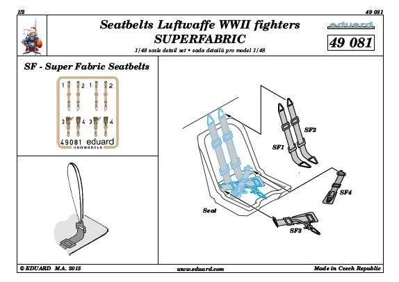 Eduard-49081Seatbelts-Luftwaffe-Fighters-WW-II Seatbelts Luftwaffe Fighters (Eduard 1:48)