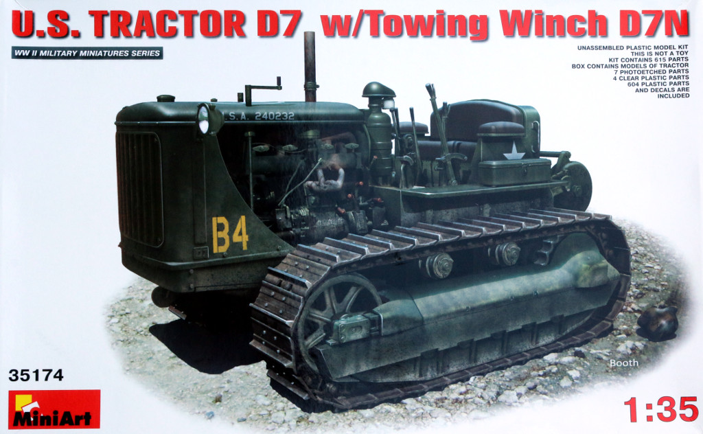 Karton U.S. Tractor D7 w/Towing Winch D7N Miniart 1:35