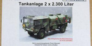 Y-Modelle — Umbausatz Tankanlage 2 x 2.300 Liter – für REVELL MAN 5t 4×4 – 1/35