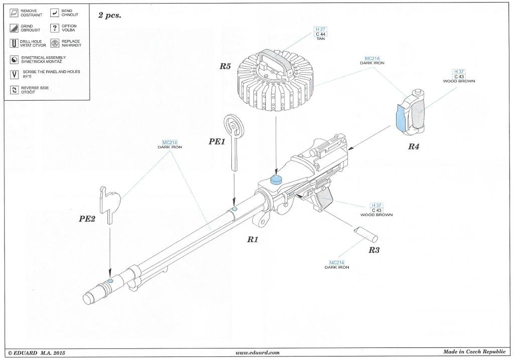 34 Lewis Mk. III WW1 gun Eduard 648 205 1:48