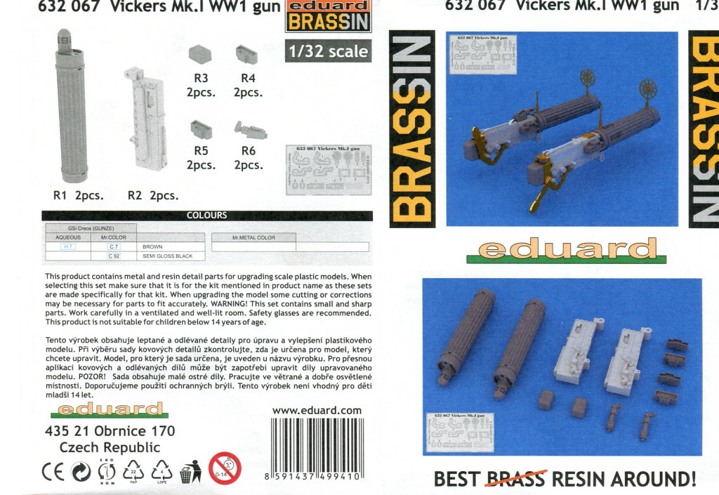 Eduard_Vickers_MkI_03 Quick Build Review - Vickers WW1 Gun - Eduard Brassin - 1/32