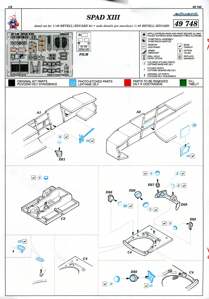 Eduard_Revell-Spad-XIII-Upgrade_05 Eduard - Upgrade Set Revell Spad XIII - 1/48 --- 49748