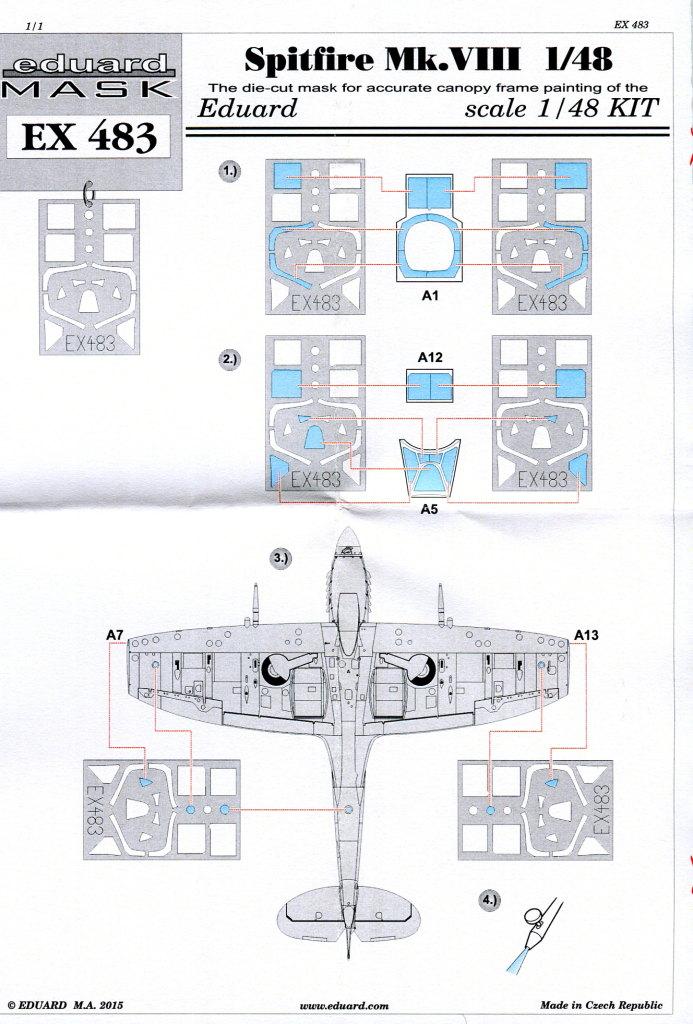 Eduard_Spitfire-Mk.VIII-_Mask_3 Express Mask Spitfire Mk.VIII - Eduard - 1/48 --- #EX483