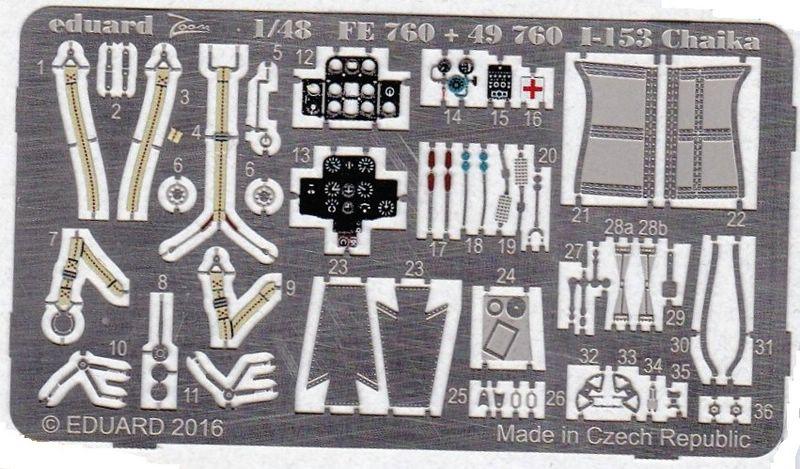 Eduard-49760-Polikarpov-I-153-3 Eduard Zubehör für die Polikarpov I-153 Tschaika von ICM (1:48)