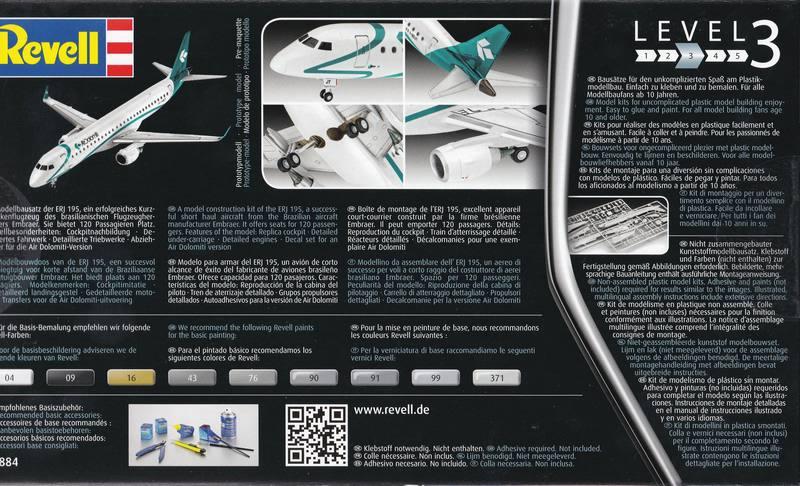 Revell-04884-Embraer-195-Air-Dolomiti-14 Revells neuer Passagierjet - die Embraer 195 Air Dolomiti (1:144)