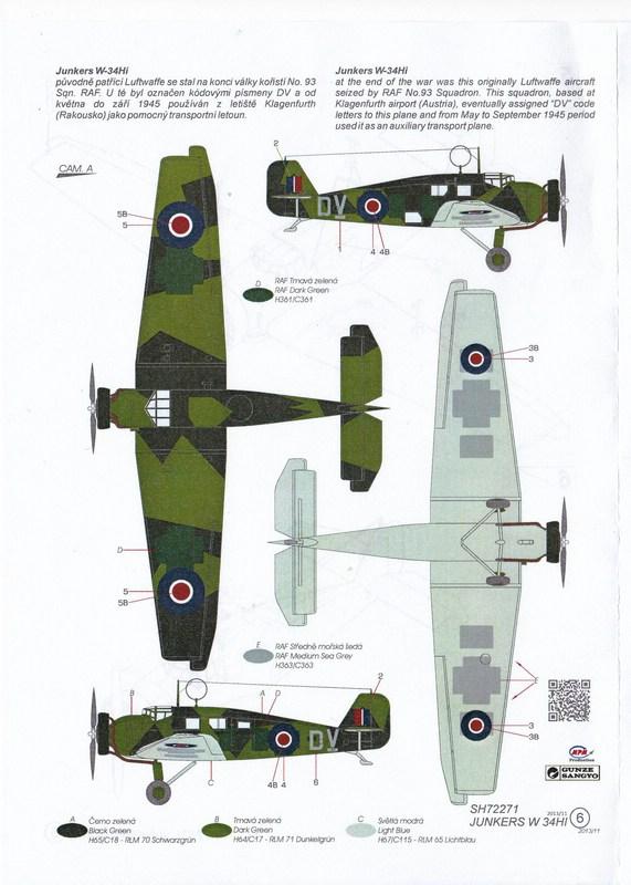 "Special-Hobby-72271-Junkers-W34-Captured-RAF-4 Junkers ""Wellblechkisten"" im Modell - heute: W34 im Dienste der RAF"