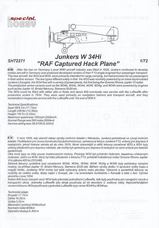 "Special-Hobby-72271-Junkers-W34-Captured-RAF-7 Junkers ""Wellblechkisten"" im Modell - heute: W34 im Dienste der RAF"