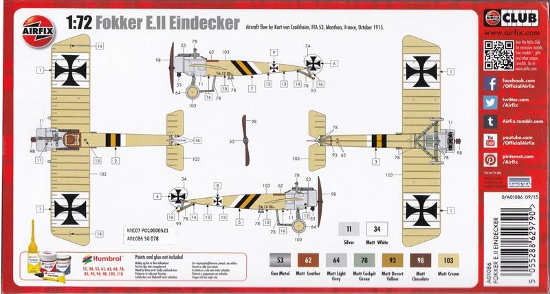 Airfix-A01086-Fokker-Eindecker-E-8 Fokker Eindecker E.II von Airfix (1:72)