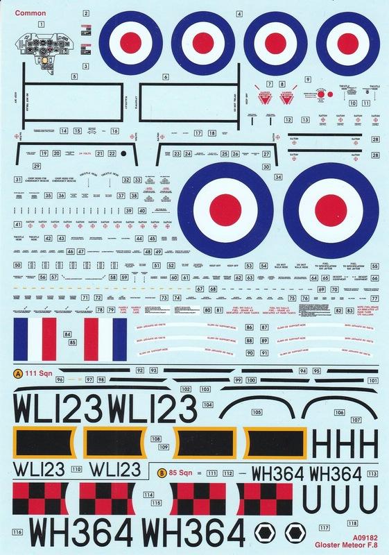 Airfix-Gloster-Meteor-decals-1 Gloster Meteor F.8 von Airfix im Maßstab 1:48