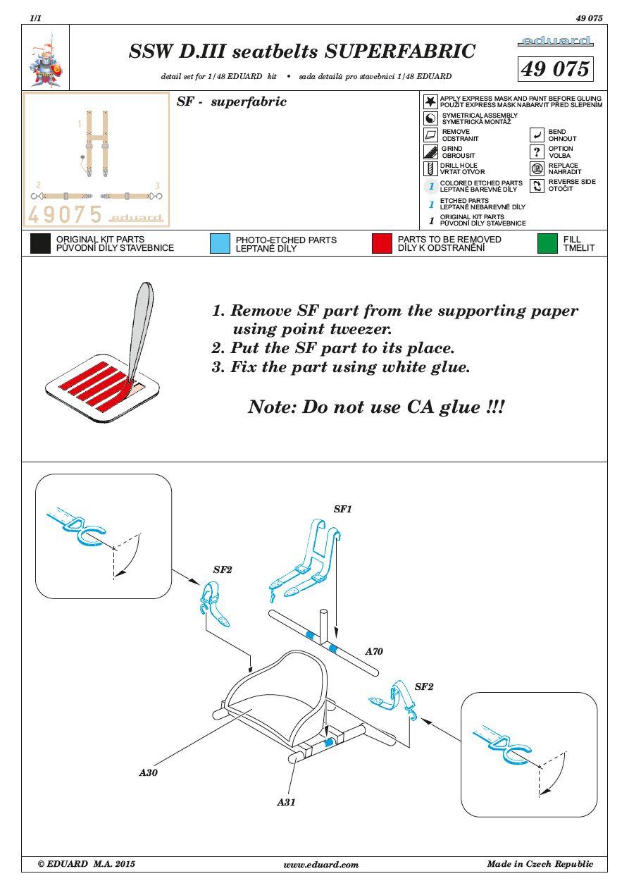 Eduard-49075-SSW-D.III-seatbelts-SUPERFABRIC-Anleitung Eduard´s Quarterscale Siemens-Schuckert SSW D.III (WEEKEND 8484)