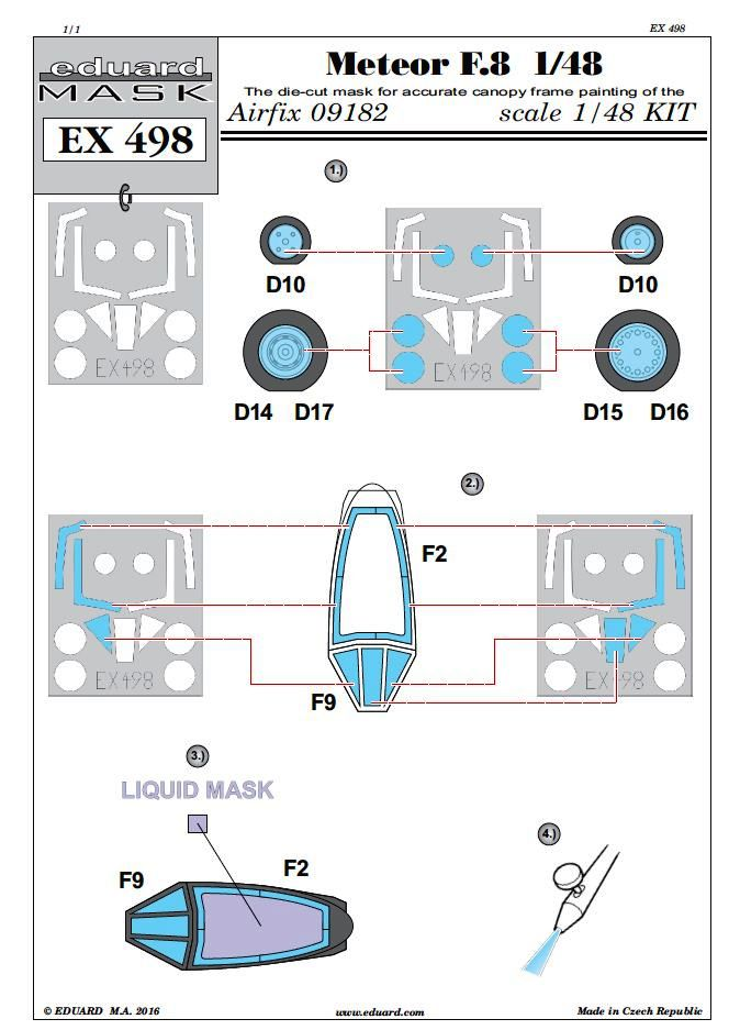 Eduard-EX-498-Masken-3 Eduard-Zubehör für die neue Meteor F.8 von Airfix (1:48)