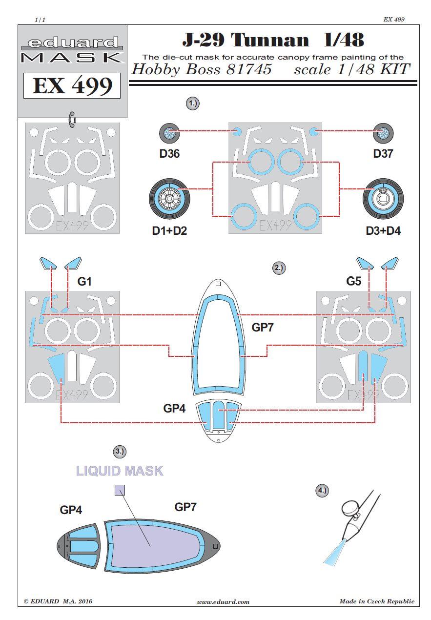 Eduard-EX-499-J-29-Tunnan-Masken-3 Nützliches Eduard Zubehör für die J-29F Tunnan von Hobby Boss (1:48)