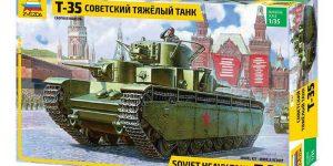 Sowjetischer schwerer Panzer T-35 von Zvezda im Maßstab 1:35