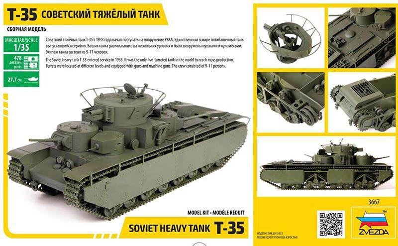 Zvezda-3667-T-35-Schachtelrückseite Sowjetischer schwerer Panzer T-35 von Zvezda im Maßstab 1:35
