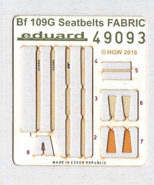 Eduard-49093-Bf-109G-Seatbelts-FABRIC-1 Photogeätztes Zubehör für die neue Bf 109G-6 von Eduard