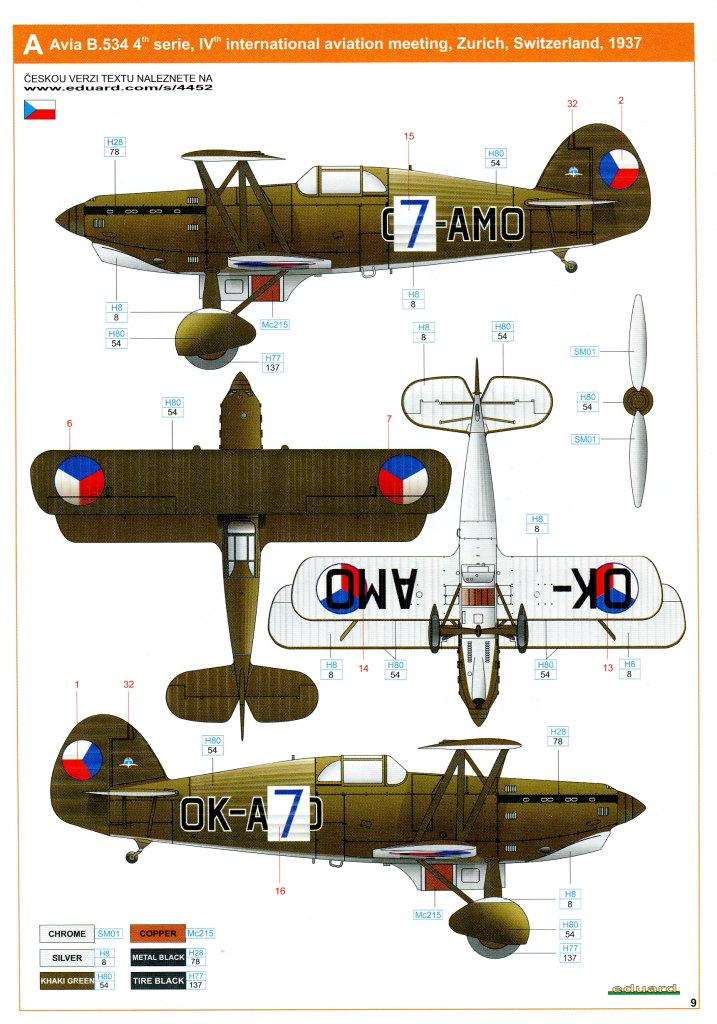 Eduard_Avia_534late_144_23 Avia B.534 late (Serie IV) - Eduard Quattro Combo - 1/144 --- #4452