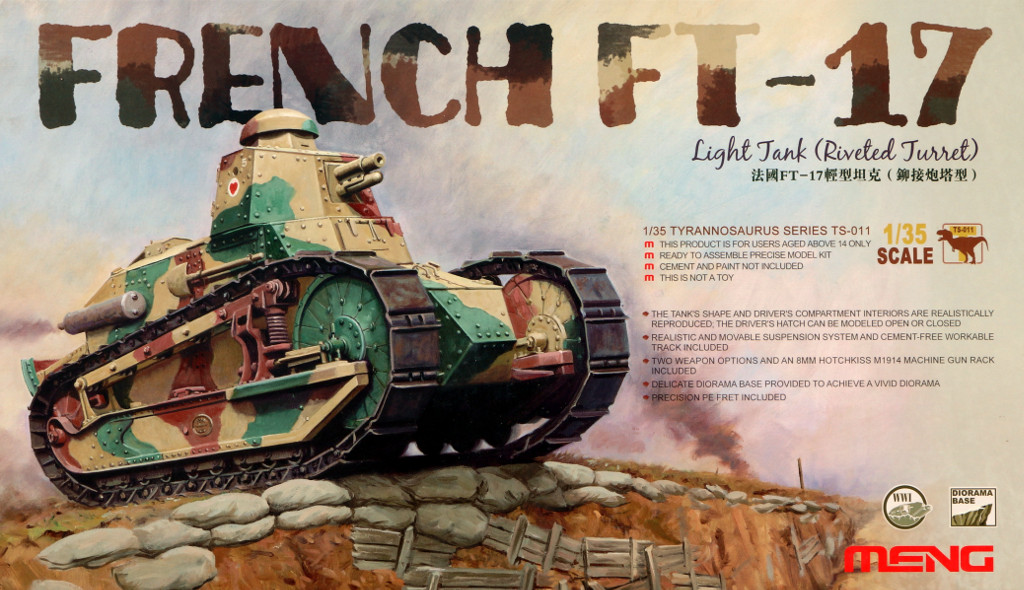 FT-17 French FT-17 Light Tank Riveted Turret (Meng TS-011)