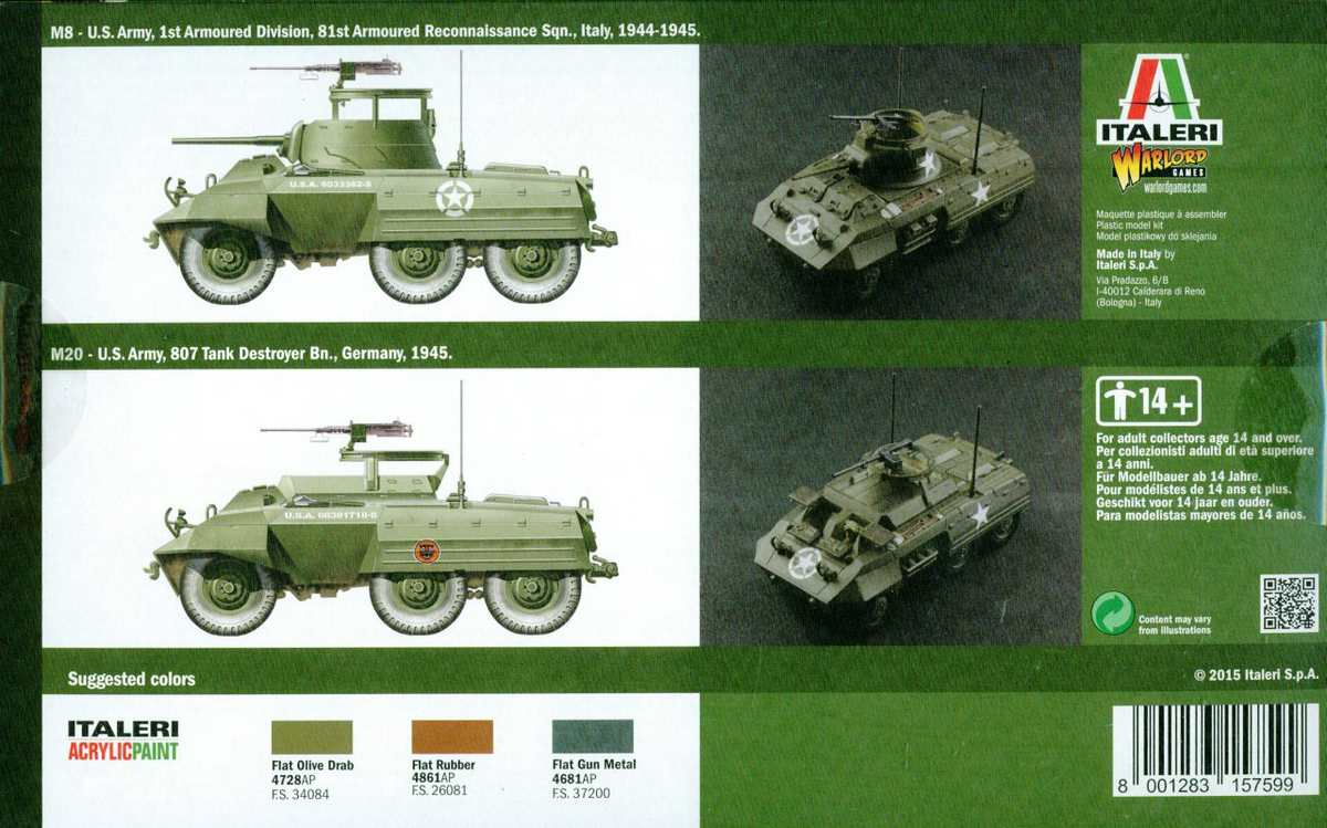 Italeri-Warlord-Games-M8-Greyhound-1 M8 / M20 Greyhound von Italeri /Warlord Games # 15759 (1:56)