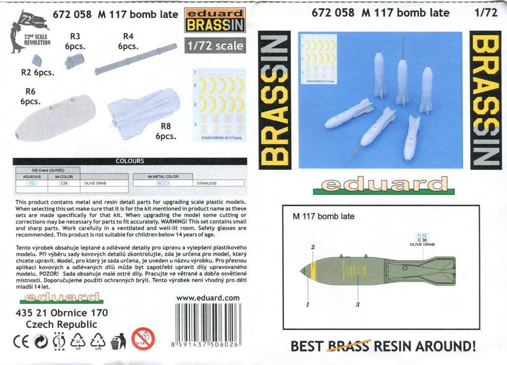 m117_08 M117 Bombs late - Eduard - 1/72 - #672 058