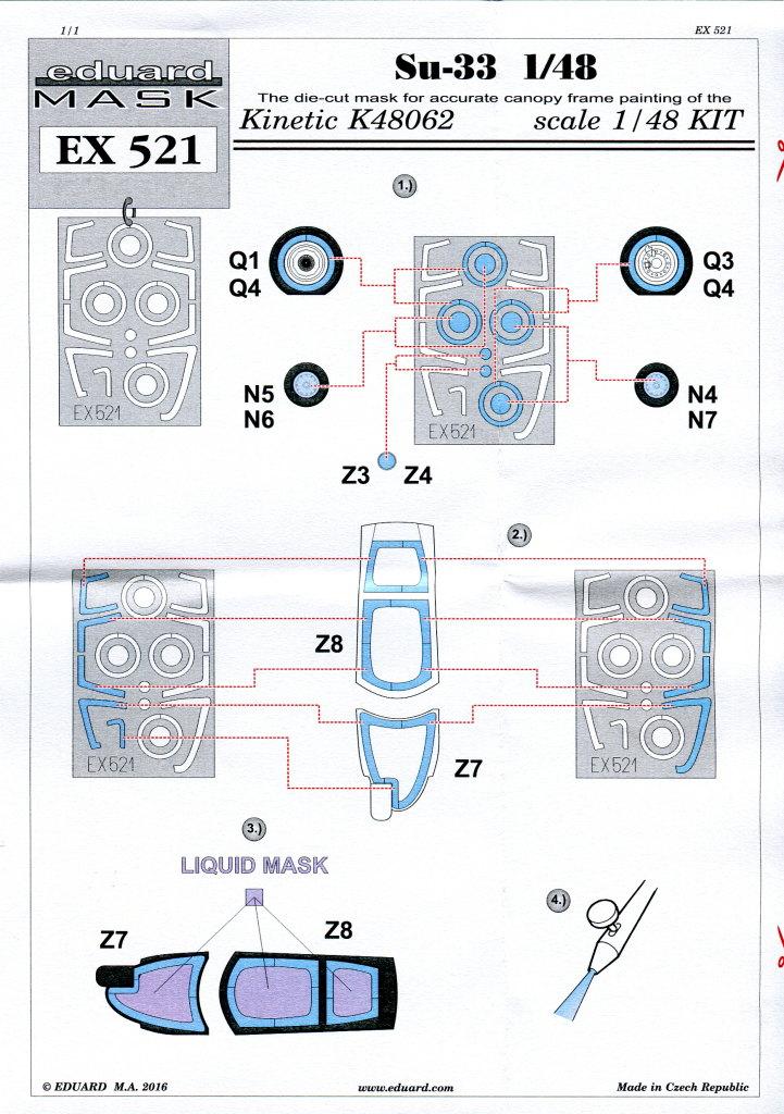 Eduard_SU33_Expressmask_03 Zubehör zur neuen Kinetic Su-33 - Interieur, Exterieur, Mask - Eduard 1/48