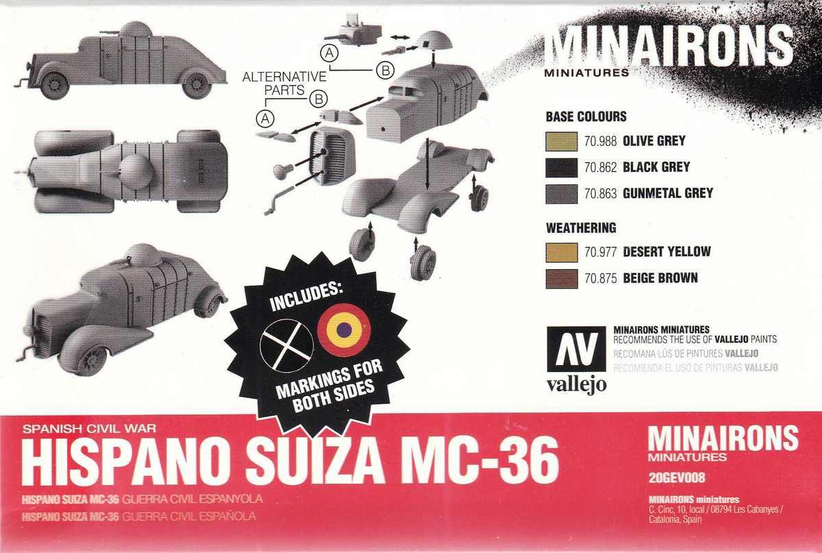 Minairons-GEV008-Hispano-Suiza-MC-36-10 spanischer Panzerwagen Hispano Suiza MC-36 ( Minarons 1:72 # 20GEV008 )