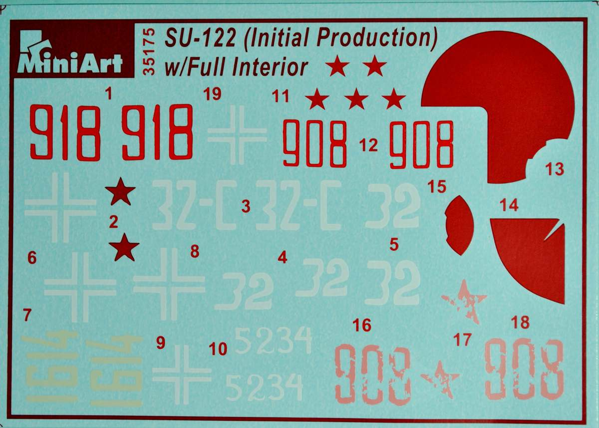 MiniArt-35175-Su-122-decals SU-122 Initial Production von MiniArt im Maßstab 1:35 (# 35175)