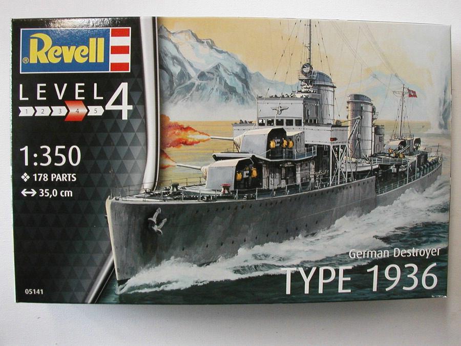 Revell-05141-German-Destroyer-Type-1936-19 Kriegsmarine Zerstörer Typ 1936 von Revell im Maßstab 1:350( # 05141)