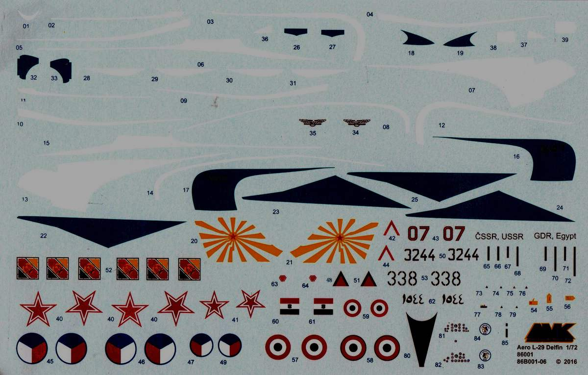 AMK-86001-Aero-L-29-Delfin-1zu72-Decals Aero L 29 Delfin von Avantgarde ( AMK 86001) im Maßstab 1:72