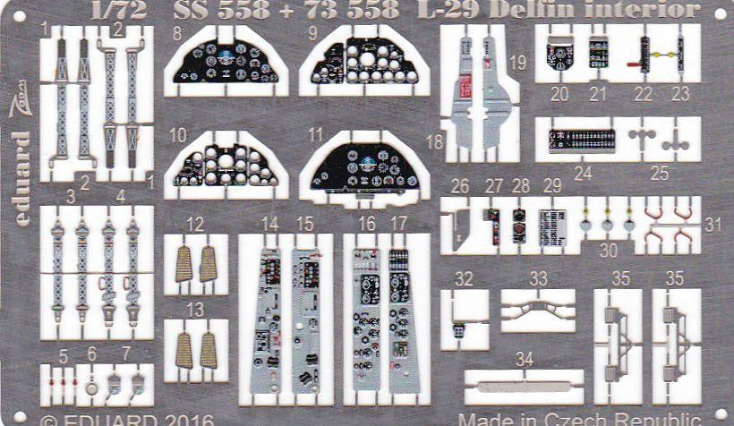 Eduard-73558-L-29 Eduard Zurüstsets für die L-29 Delfin von AMK im Maßstab 1:72