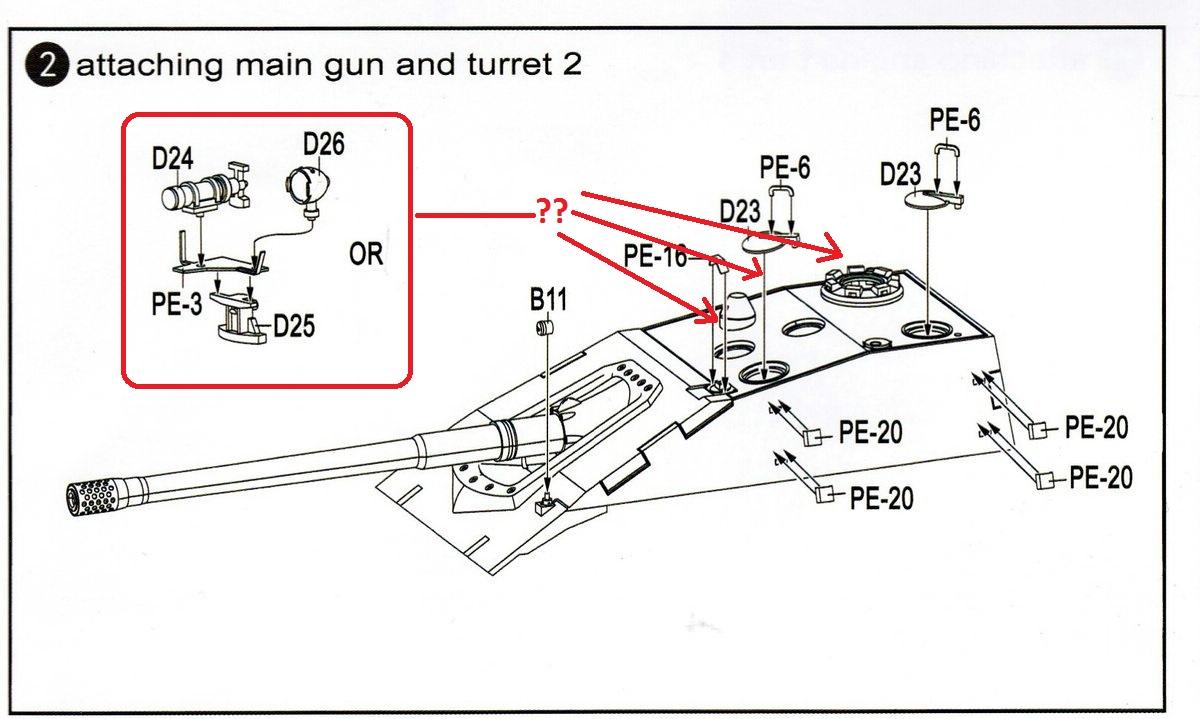 Modelcollect-UA72036-E-100-StuG-Gun-Infrarotgerät German E-100 StuG Gun ( Modelcollect UA 72036 )