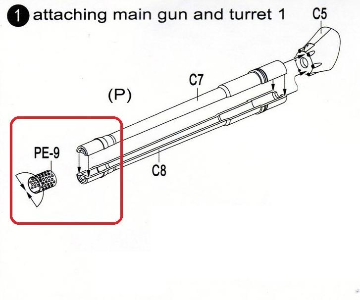 Modellcollect-UA72036-E-100-StuG-Gun-Mündungsbremse German E-100 StuG Gun ( Modelcollect UA 72036 )