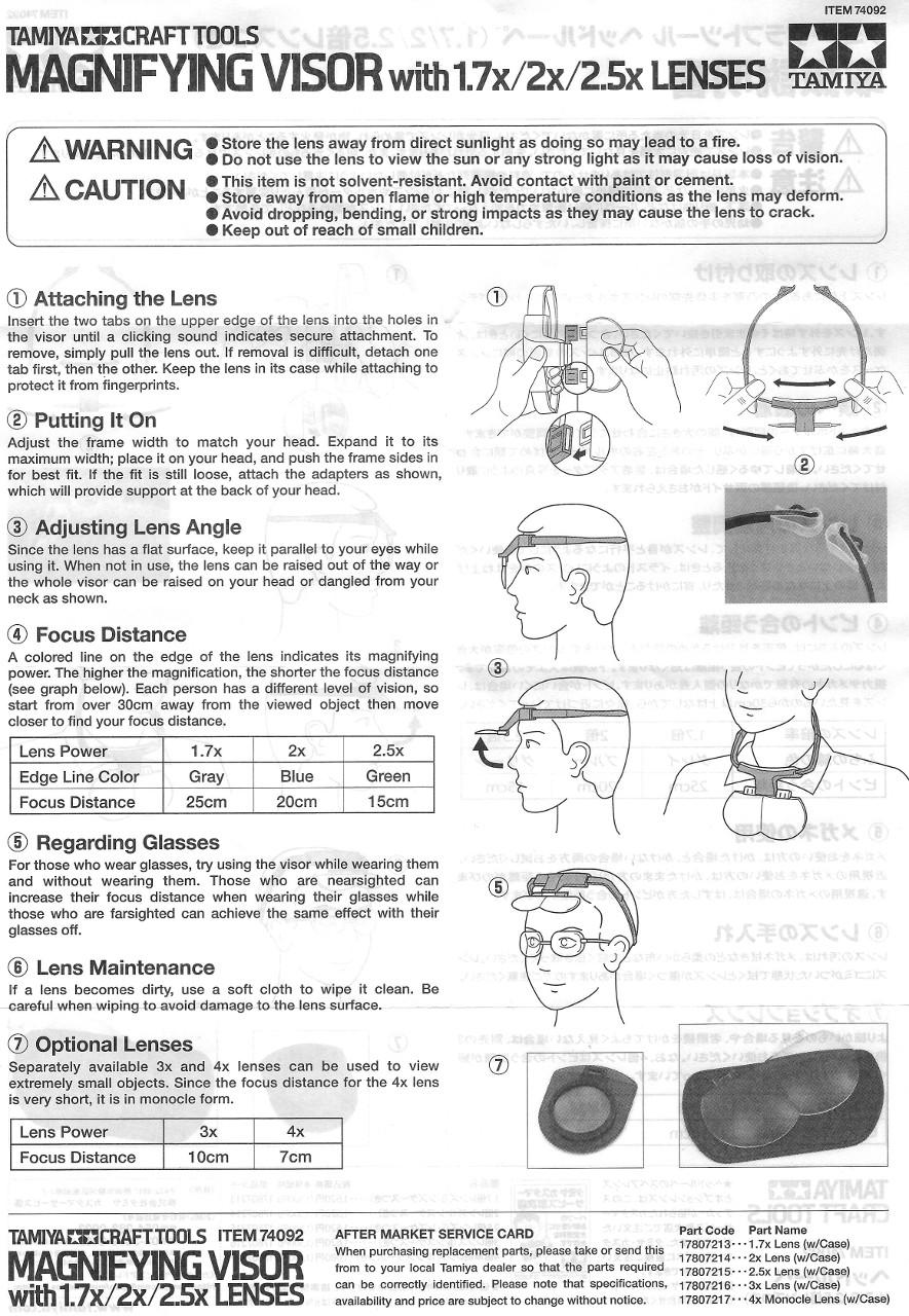 Anleitung Kopflupe (Magnifying Visor) von Tamiya