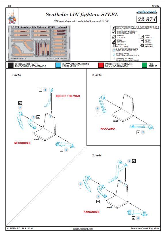 Eduard-32874-Seatbelts-IJN-Fighters-STEEL-1 Eduard Sitzgurte STEEL für die japanische Marineluftwaffe