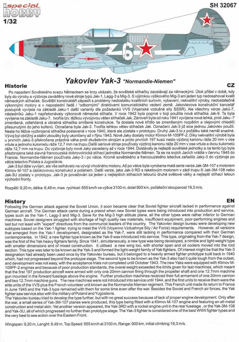 Special-Hobby-SH-32067-Yak-3-Normandie-Niemen-53 Yakovlev Yak-3 Normandie-Niemen von Special Hobby ( SH 32067 )